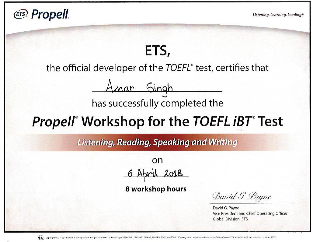 TOEFL-certificate: Amar Singh